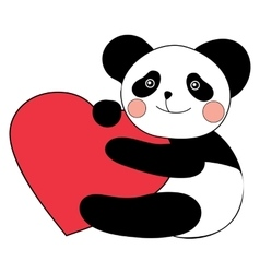 Panda with heart happy valentines day vector image vector image