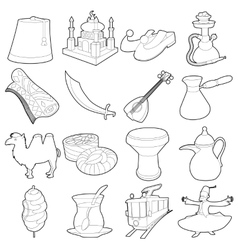 Turkey travel symbols icons set outline style vector image vector image