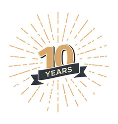 10 th anniversary retro emblem isolated vector image