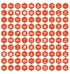 100 auto icons hexagon orange vector image
