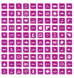 100 location icons set grunge pink vector