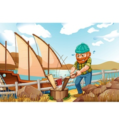 A woodman chopping the woods near the river vector