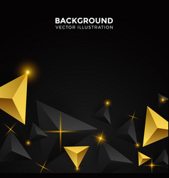 Abstract gold and black triangle background 3d vector