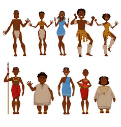 african native tribe people characters vector image