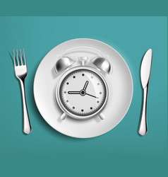 alarm clock in an empty plate diet and nutrition vector image