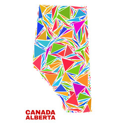 Alberta province map - mosaic of color triangles vector