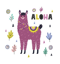 aloha funny print with a cute llama card with vector image