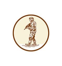 American Soldier Rifle Walking Circle Cartoon vector image