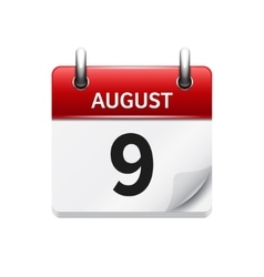 August 9 flat daily calendar icon Date vector image