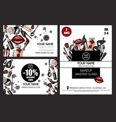 Banner and card for master class makeup artist vector