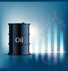 Barrel of oil with financial graphs and charts vector