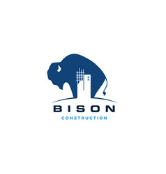 Bison construction building logo icon vector