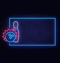 Bowling neon sign neon frame bowling club vector