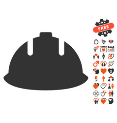 Builder helmet icon with dating bonus vector