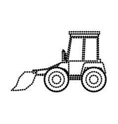 bulldozer flat icon monochrome dotted silhouette vector image