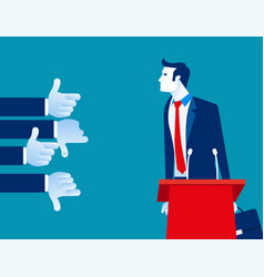 Businessman with like and dislike hands concept vector