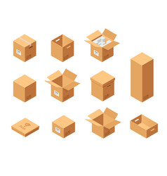 Carton packaging boxes set isometric view vector