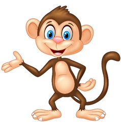 Cartoon monkey presenting vector