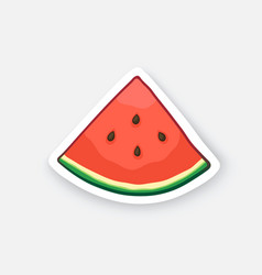 Cartoon sticker watermelon small slice vector