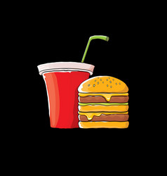 Cartoon tasty burger and cola paper cup vector