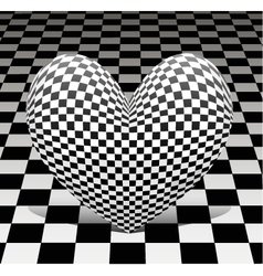chess heart on the chess background vector image