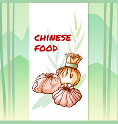 chinese tasty dumplings restaurant and cafe banner vector image