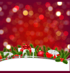 christmas banner with bokeh and firtree frame vector image