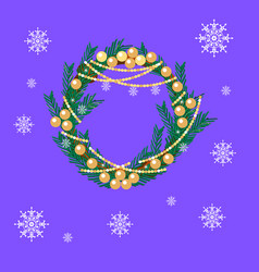 christmas fir wreath with decorations vector image
