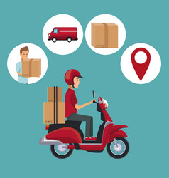 color background with man scooter with packages vector image