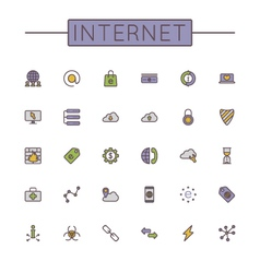 Colored Internet Line Icons vector