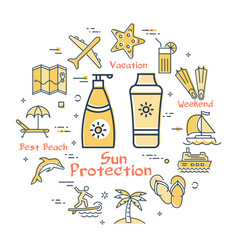 colorful icons in summer - sun protective cream vector image