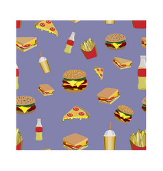 concept on street food pattern with fastfood vector image