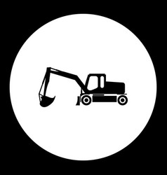 Construction excavator simple silhouette black vector