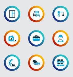 construction icons colored set with window vector image