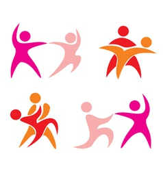 Couple dance set of icons vector