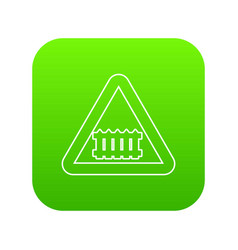 Crossing railroad barrier icon green vector