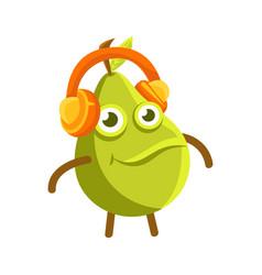 Cute cartoon happy green pear in headphones vector