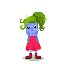 cute girl troll with green hair funny fairy tale vector image