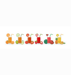 cute kawaii smiling cartoon fruits juice vector image