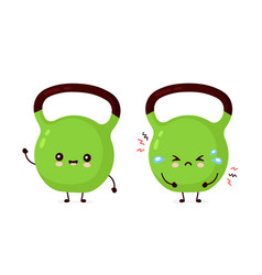Cute smiling and sad fitness kettlebell weight vector