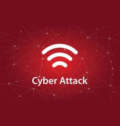 cyber attacks white text with vector image
