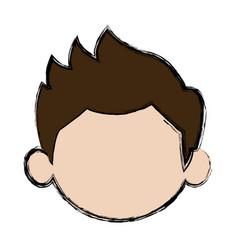 Default little face boy cute child vector