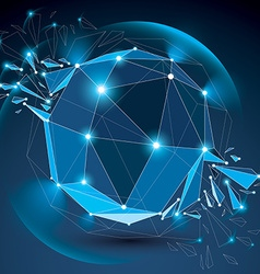 Dimensional wireframe blue object with radiance vector