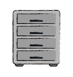 drawing file cabinet archive workplace vector image