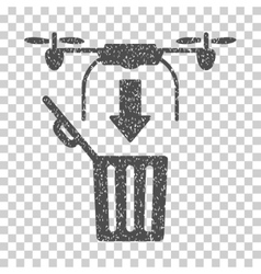 Drone Drop Trash Grainy Texture Icon vector