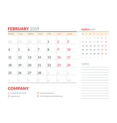 february 2019 week starts on monday calendar vector image