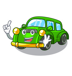Finger classic car toys in cartoon shape vector