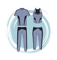 Fitness suit clothes for male and female vector