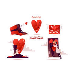 flat valentine day tiny people and vector image