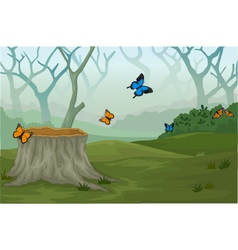 Funny butterfly with deep forest landscape backgro vector
